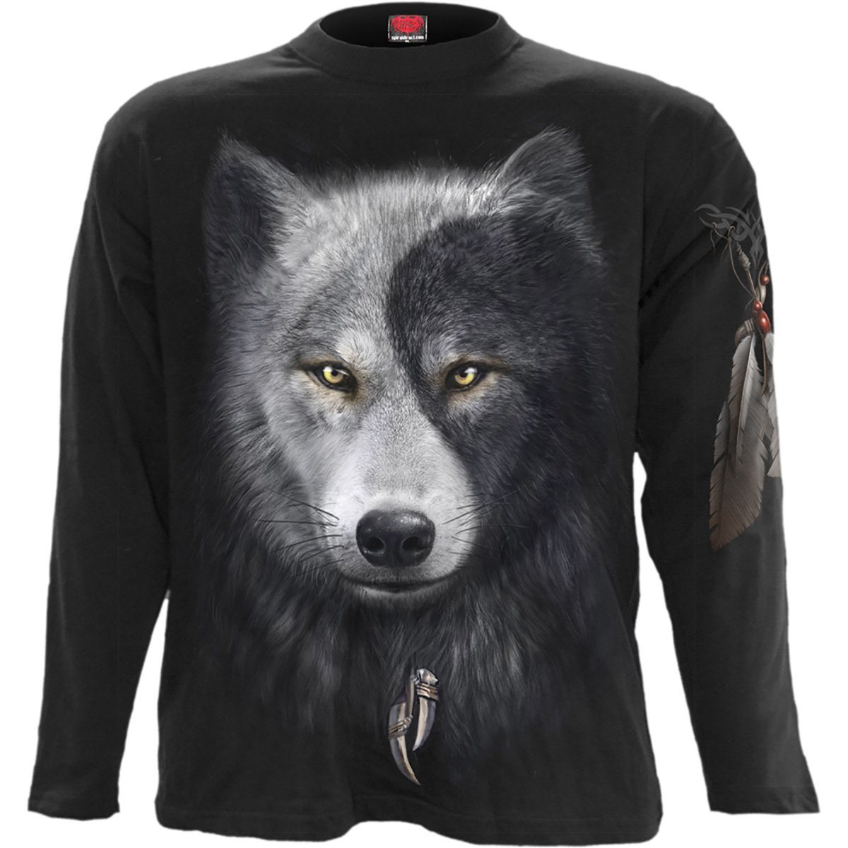 Wolf Chi Spirit Men's Black Longsleeve Shirt