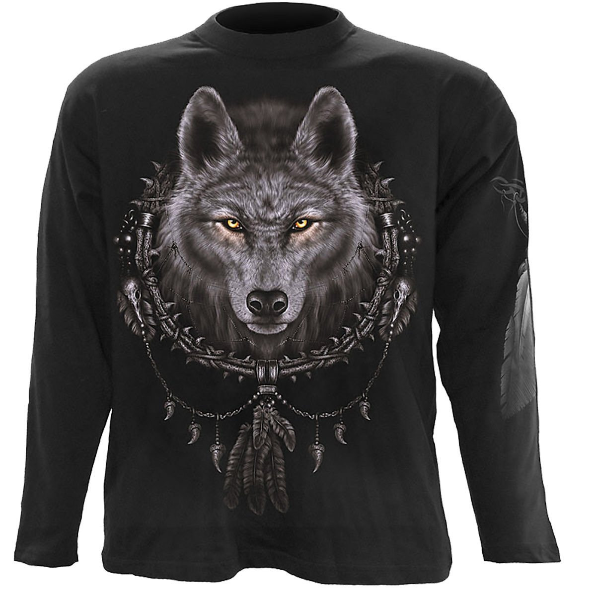 Wolf Dreamcatcher Men's Black Longsleeve Shirt