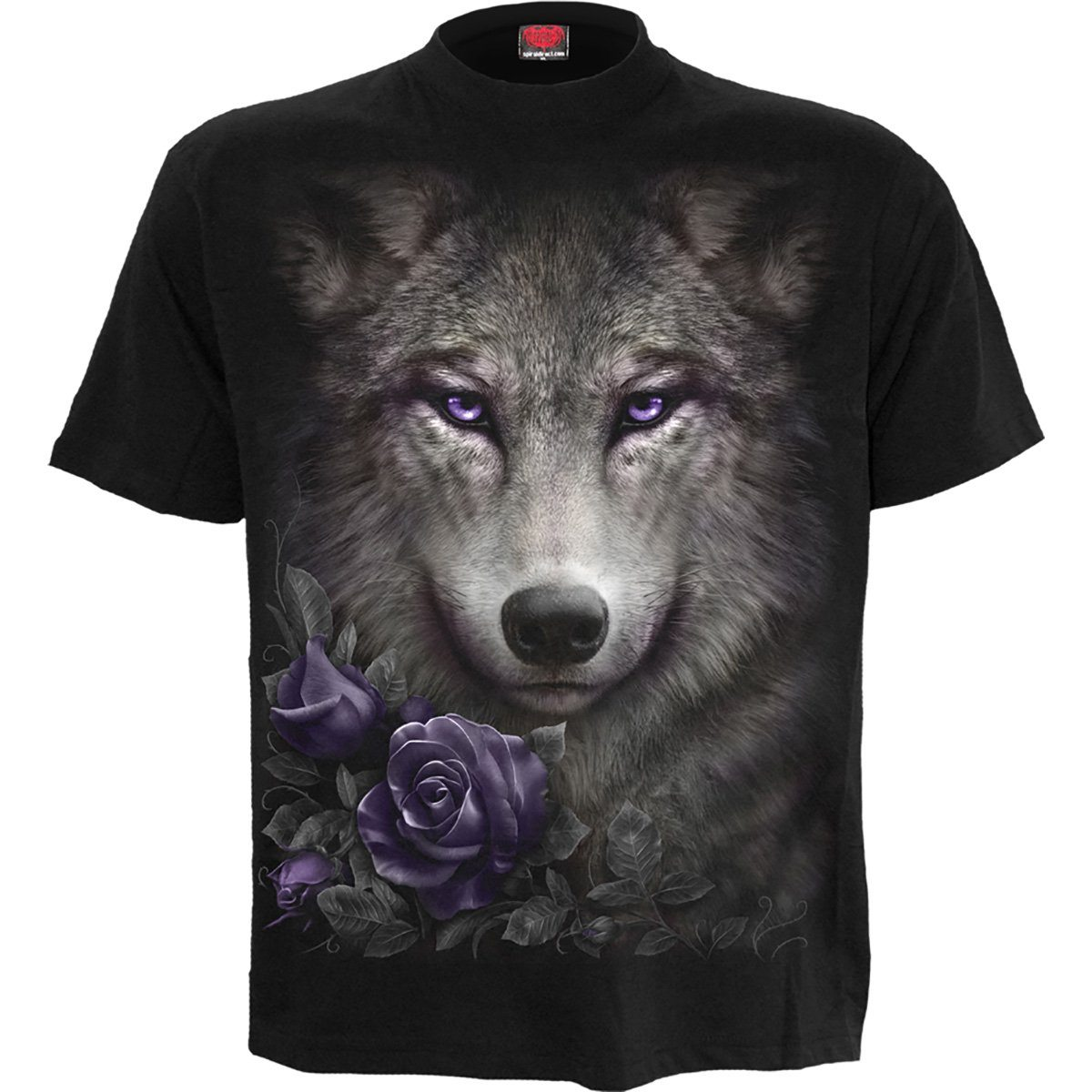 Wolf Purple Rose Women's Black T-Shirt - Rebels Depot