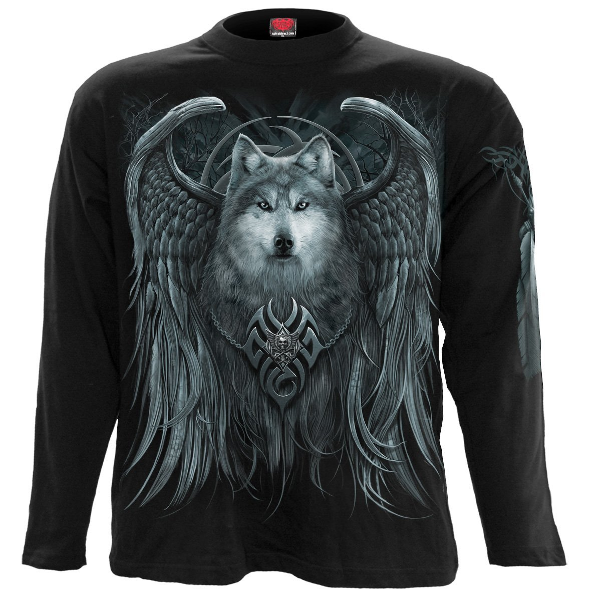 Howling Wolf Spirit Men's Black Longsleeve Shirt