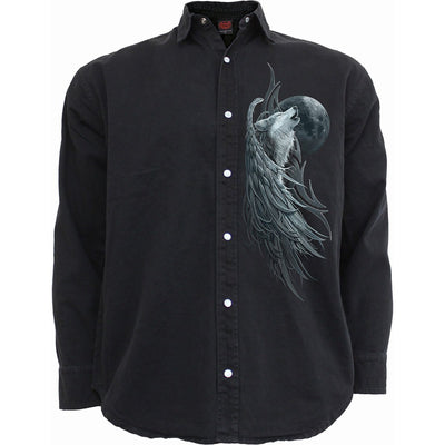 Howling Wolf Spirit Men's Black Longsleeve Button Up Shirt - Rebels Depot