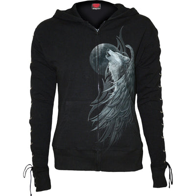 Howling Wolf Spirit Lace Up Black Hoodie - Rebels Depot