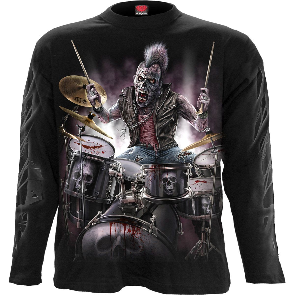 Zombie Drummer Men's Black Longsleeve Shirt