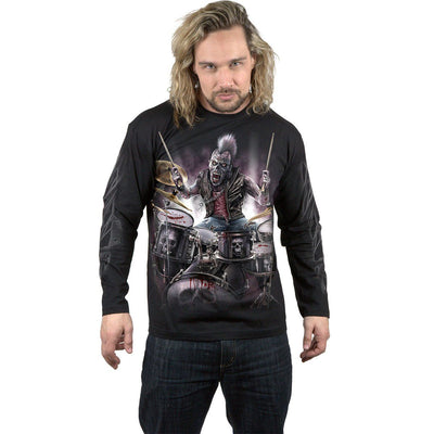 Zombie Drummer Men's Black Longsleeve Shirt - Rebels Depot