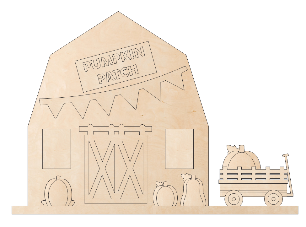 Barn Scene - Pumpkin Patch