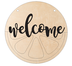 Lemon-Lime Door Hanger - Welcome