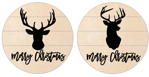 Merry Christmas Deer on Pallet Round