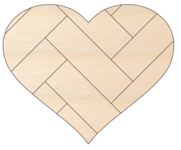 Heart 1 with Herringbone Pattern (22x18