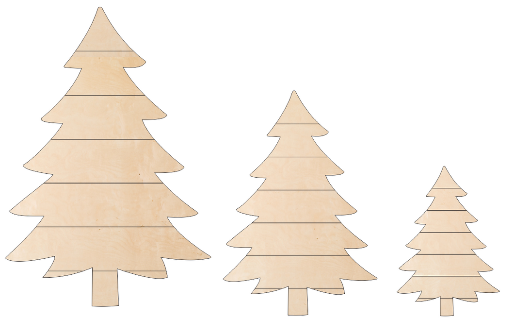 Christmas Trees - Fat Trio with Shiplap