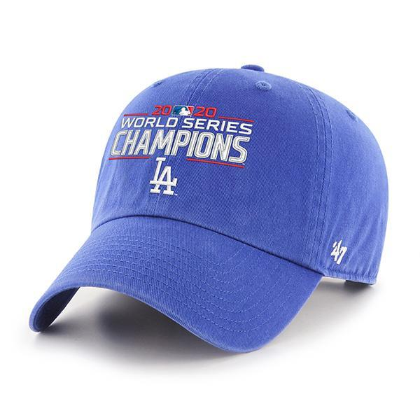 47 Brand Los Angels Dodgers 2020 World Series Champions Clean Up Blue Strapback Dad Hat