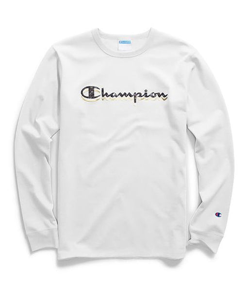 Champion Camo & Gold Script White Long Sleeve T-Shirt