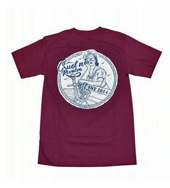 Cruel N Revolve Pin Up Sailor Burgundy T-Shirt