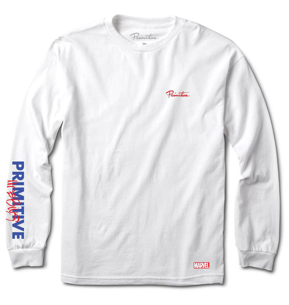 Primitive x Moebius x Marvel Spider Man White Longsleeve T-Shirt