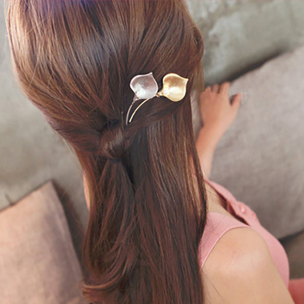 Calla Lily Flower Metallic Hair Pins with Pearls-Hair Pins-Your Wedding Veil Store