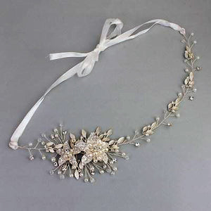 Austrian Crystal and Pearl Flower Headband- two colors