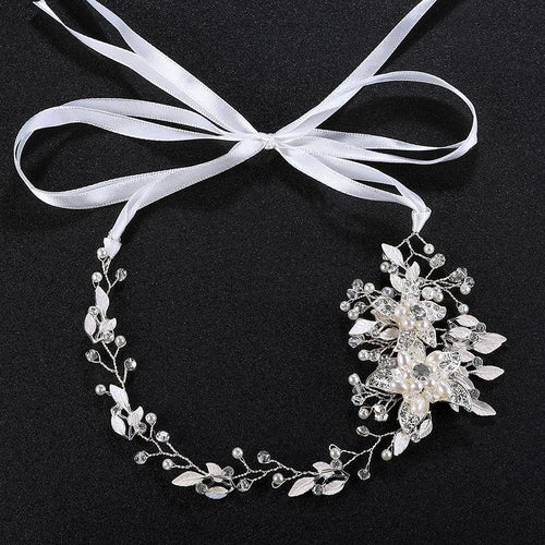 Austrian Crystal and Pearl Flower Headband- two colors-Your Wedding Veil Store