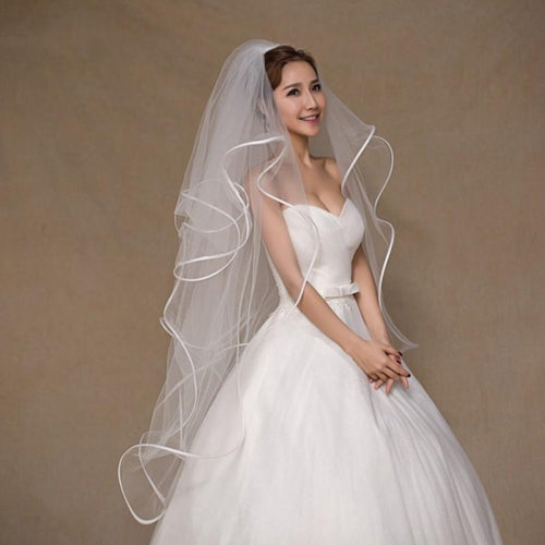 Ballet Length 4 Layer Bubble Veil with Ribbon Edging-Your Wedding Veil Store