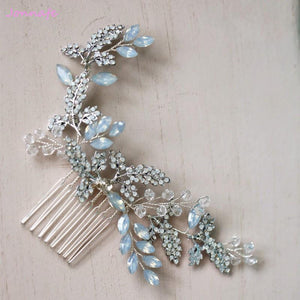 Blue Opal and Crystal Hair Comb-Your Wedding Veil Store