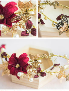 Crimson Flowers Headband with Butterflies-Your Wedding Veil Store