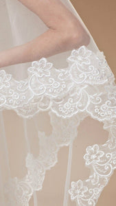 Cathedral Length Veil with Scalloped Lace Applique-Your Wedding Veil Store