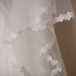 Cathedral Mantilla Veil with Lace Flower Applique Edging-Your Wedding Veil Store