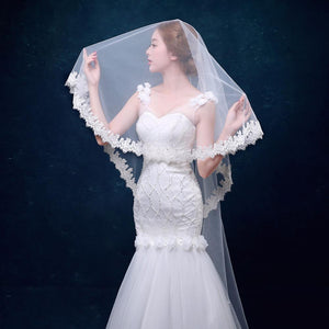 Cathedral Mantilla Veil with Scalloped Lace Edging-Your Wedding Veil Store