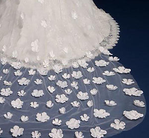Cathedral Veil with 3D Flowers-Your Wedding Veil Store
