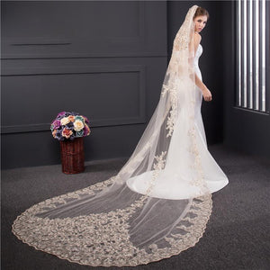 Cathedral Veil with Dramatic Beaded Lace Applique-Your Wedding Veil Store