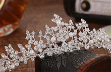 Crystal and Pearl Floral Tiara-Your Wedding Veil Store