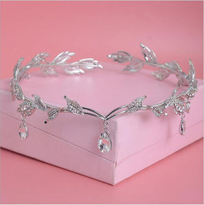 Crystal Leaves Forehead Headband-Your Wedding Veil Store
