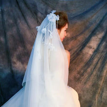 Double Layer Veil with 3D Flowers