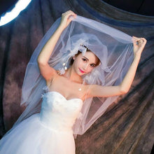 Double Layer Veil with 3D Flowers-Your Wedding Veil Store