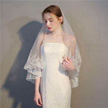 Double Layer Veil with Sequined Lace Edging-Your Wedding Veil Store