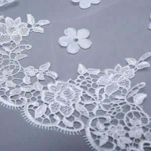 Elbow Veil with Lace Applique, Flowers, and Beading-Your Wedding Veil Store