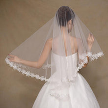 Fingertip Mantilla Veil with Lace Flower Applique Edging-Your Wedding Veil Store