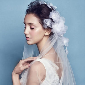 Fingertip Veil with Silk Flower Headpiece-Your Wedding Veil Store