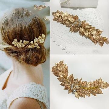 Gold Leaf and Pearl Spray Headpiece-Your Wedding Veil Store