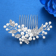 Crystal Leaf and Pearl Hair Comb-Hair Comb-Your Wedding Veil Store