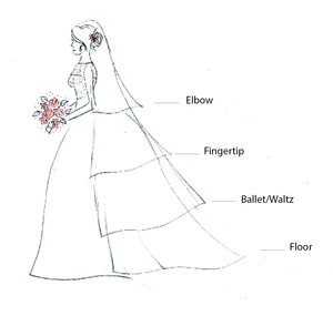 Simple Single Layer Cut Edge Veil - In Four Lengths