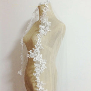 Cathedral Veil with Floral Lace Applique
