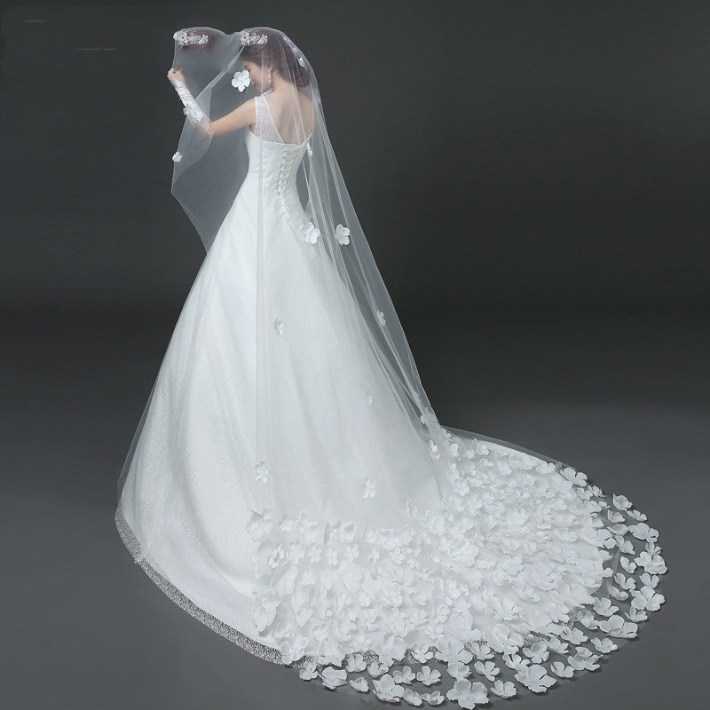 Cathedral Drop Veil with Flower Applique