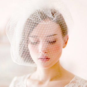 Birdcage Blusher Veil with Tulle and Netting