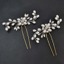 Crystal and Pearl Floral Hair Pins Set