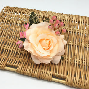 Luxurious Rose Hair Clip with Berries and Leaves
