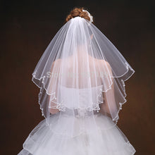 Scalloped Edge Bridal Veil with Beading-Elbow Veil-Your Wedding Veil Store