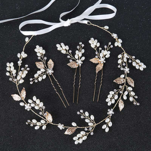 Golden Crystal and Pearl Flower Crown and Hair Pins-Headband-Your Wedding Veil Store