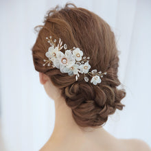 Ivory Flowers Hair Comb with Crystals and Pearls