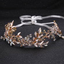 Amber Crystal Beaded Floral Headband