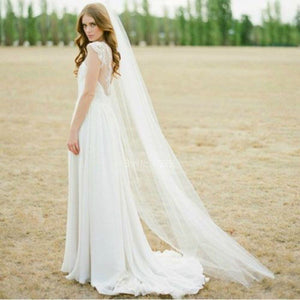 Simple Romance Cut Edge Tulle Chapel Veil