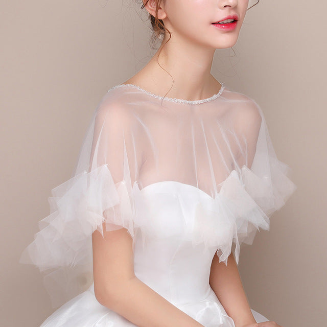 Sheer Ruffled Capelet with Beaded Neckline